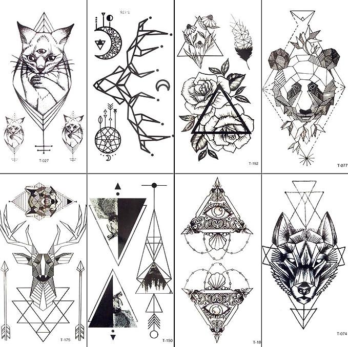HXMAN 7 Unids Negro Geométrico Gato Temporal Tatuaje Luna Ciervo ...