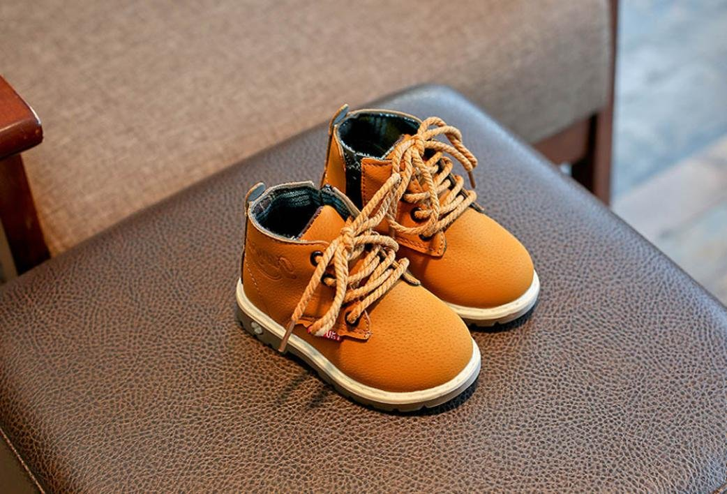 1.5T, Yellow Weiyun Children Lace Up Casual Shoes Baby Walkers Unisex Baby Fashion Martin Sneaker Boots 1.5~6T