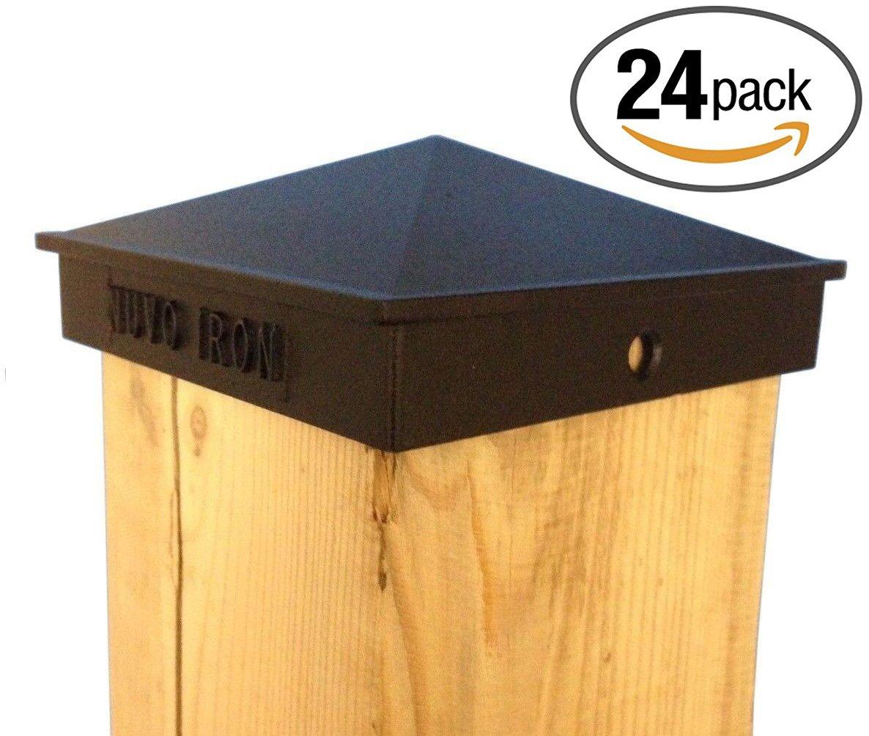 Nuvo Iron Decorative Pyramid Aluminium Post Cap for 3.5'' x 3.5'' Posts - Black [24 PACK]