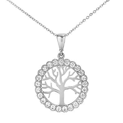 Citerna 9 ct Tree of Life Pendant Necklace with CZ Stones 5RtMQaaF