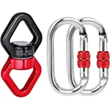 APIYOO 30kN Bearing Swing Swivel Device, 360°Rotational Hanging Swivel Hook with 2 Carabiners, Connector for Aerial Yoga…