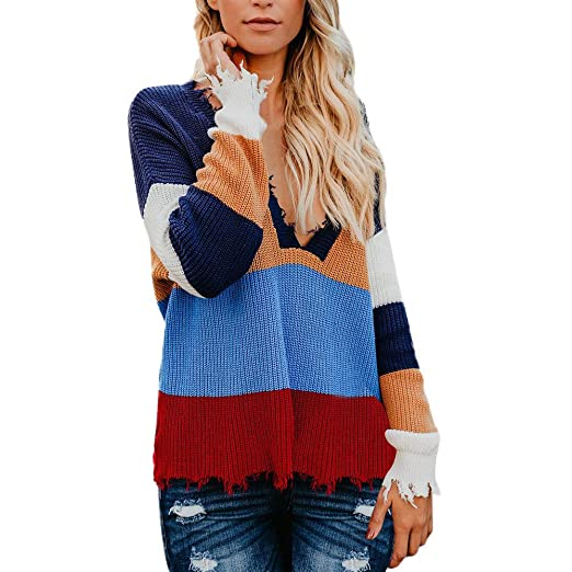 Limsea 2018 Womens Multicolor Deep V Neck Casual Knitted Loose Striple Sweater  Long Sleeve Pullover at Amazon Women s Clothing store  69d1dc42e