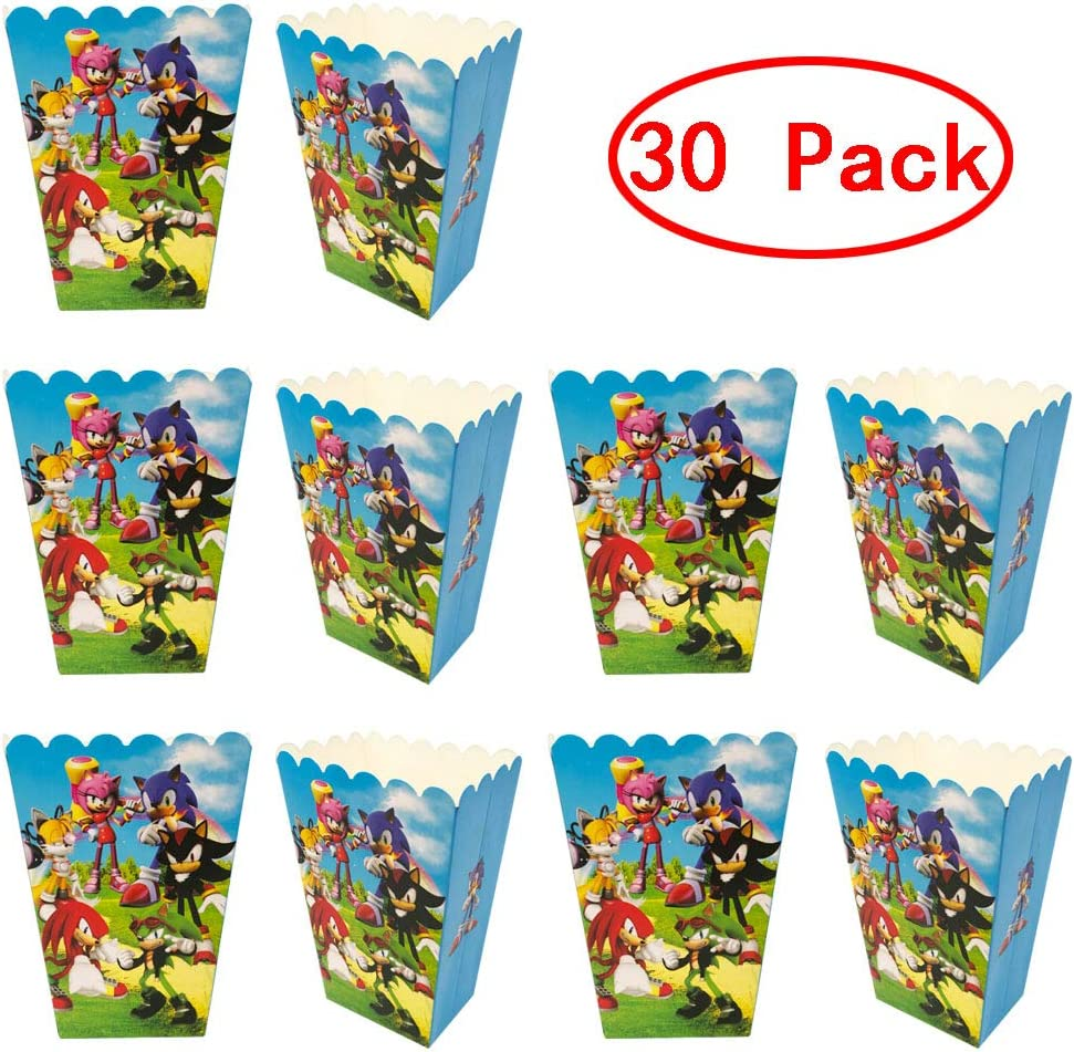 Amazon Com 30 Pcs Sonic The Hedgehog Birthday Party Popcorn Boxes Sonic Party Supplies Favors Candy Container For Birthday Theater Themed Parties Movie Nights Carnivals Toys Games
