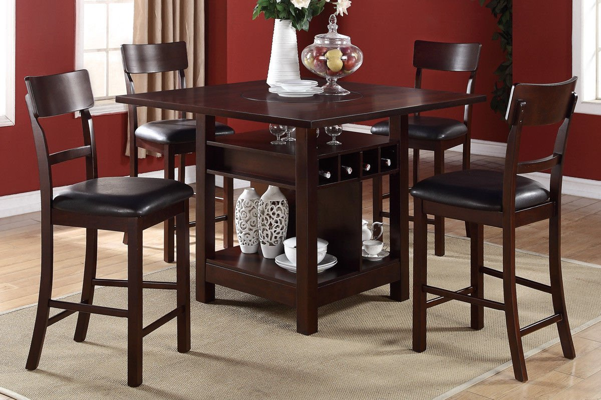 Amazon.com   Poundex F2347 U0026 F1207 Dark Brown Finish W/ Black Vinyl Counter  Height Dining Set   Table U0026 Chair Sets