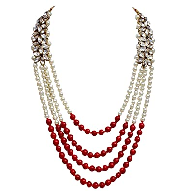 7471fc606 Buy Lucky Jewellery Designer Maroon Color Four Line Pearl Maharaja Haar  with Stone Dulha Necklace Groom Moti Mala for Men Online at Low Prices in  India ...