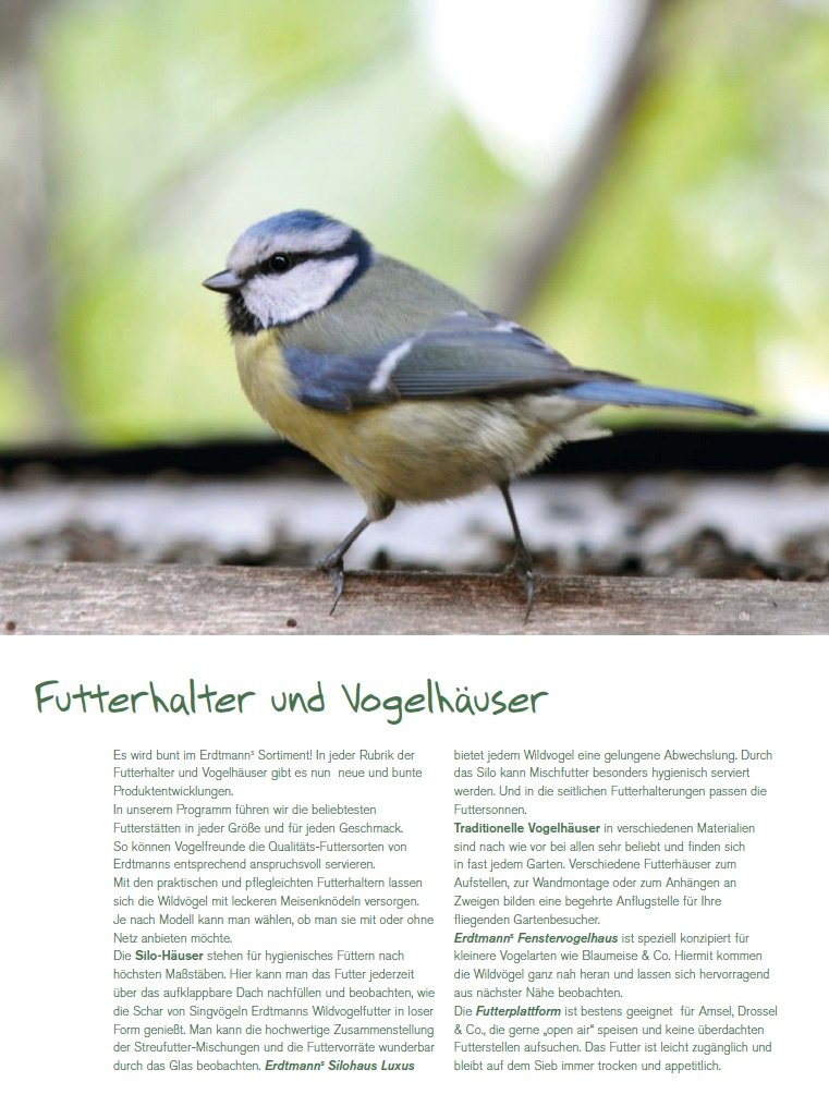 Erdtmanns Snackbar Mangeoire /à oiseaux