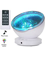 [2019 Upgraded]Ocean Projector Lamp Night Light+Remote Control+Timer, Bedside Child Lights Baby Gifts with 8 Color Modes+6 Music Sounds+Angle Adjustment for Party Decoration