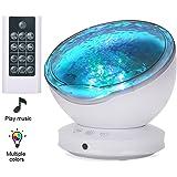 Lámpara Proyector, Proyector LED de Luz Océano con 45 Grados de Rotación, control remoto & 8 Modos, Luz del Sueño con Reproductor de Música para Niños, Novia, Cumpleaños y Fiesta