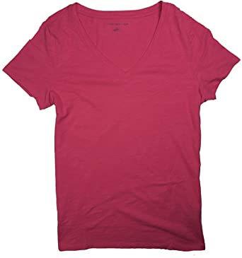 1d5a73c6 Image Unavailable. Image not available for. Color: Tommy Hilfiger Womens  Fashion Slub Style Short Sleeve Semi Fitted V-Neck T-Shirt
