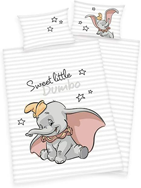 Dumbo Kinder Bettwäsche Kopfkissen Bettdecke 100x135 cm Disney Baumwolle
