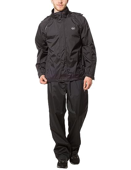 Ultrasport Traje Impermeable para Hombre Harry - Traje de Lluvia para Moto o Ciclismo - Conjunto de Chaqueta y Pantalón Impermeable - Chubasqueros