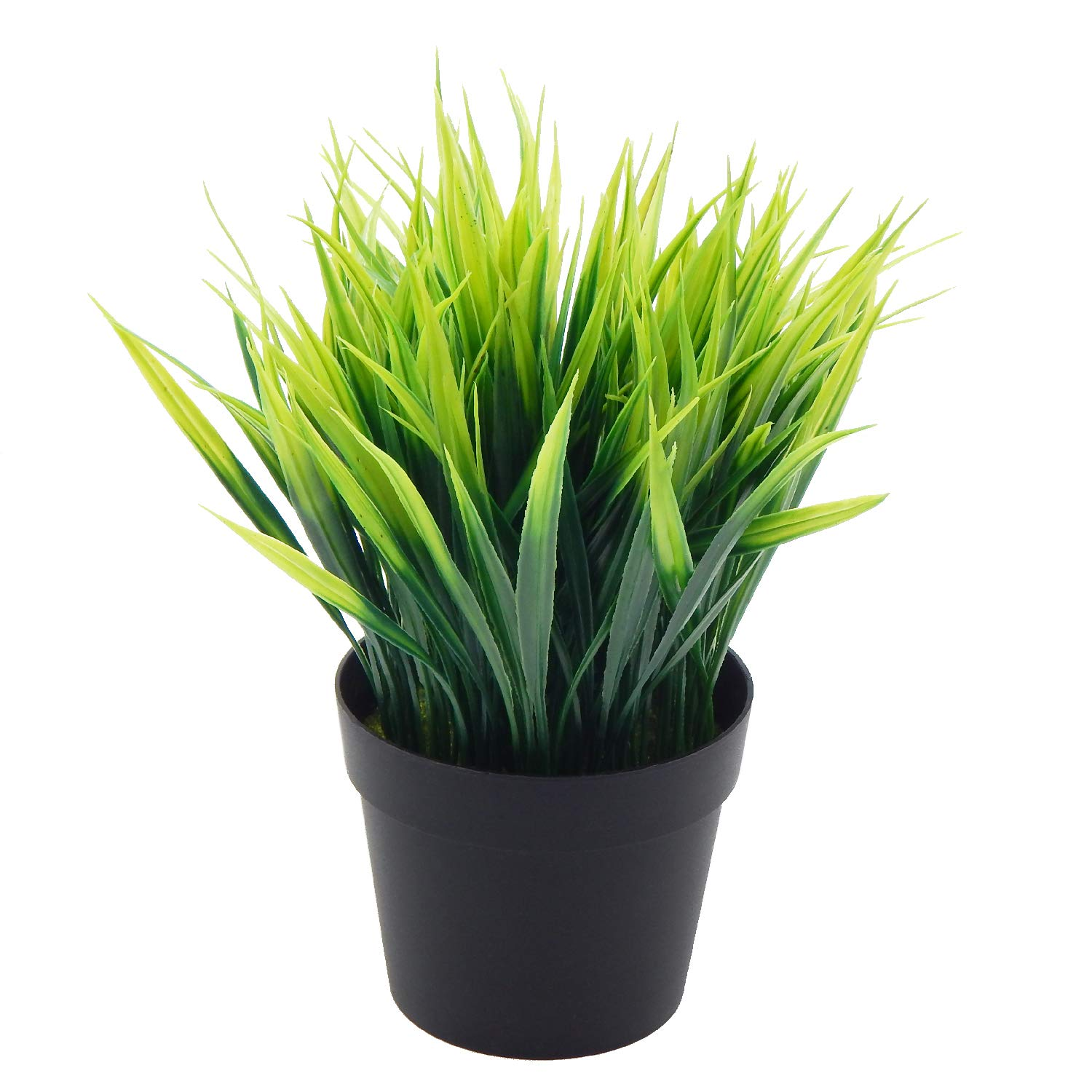 OFFIDIX Artificial Potted Plant,Fake Plant for Office Desktop, Faux Plant Wheat Grass with Black Plastic Pots for Home Bathroom Decoration Indoor