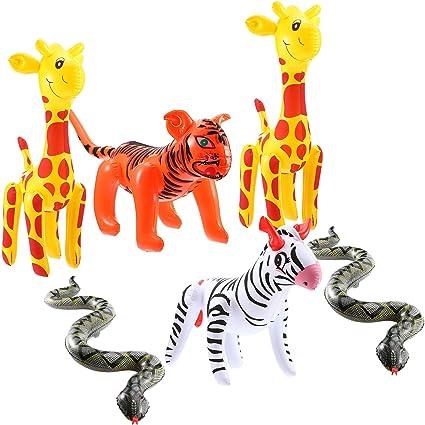 Amazon.com: 6 piezas inflables Zoo Animales flotantes ...