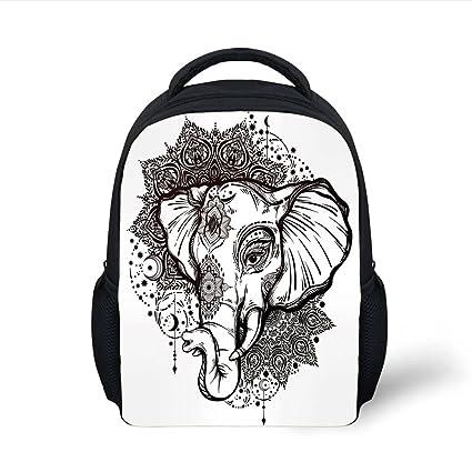 c8a1591e3 Amazon.com: iPrint Kids School Backpack Elephant Mandala,Grunge ...
