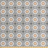 Ethnic Fabric by the Yard by Ambesonne, Moroccan Folklore Arabesque Oriental Eastern Ottoman Classic Antique Vintage Pattern, Decorative Fabric for Upholstery and Home Accents, Multicolor