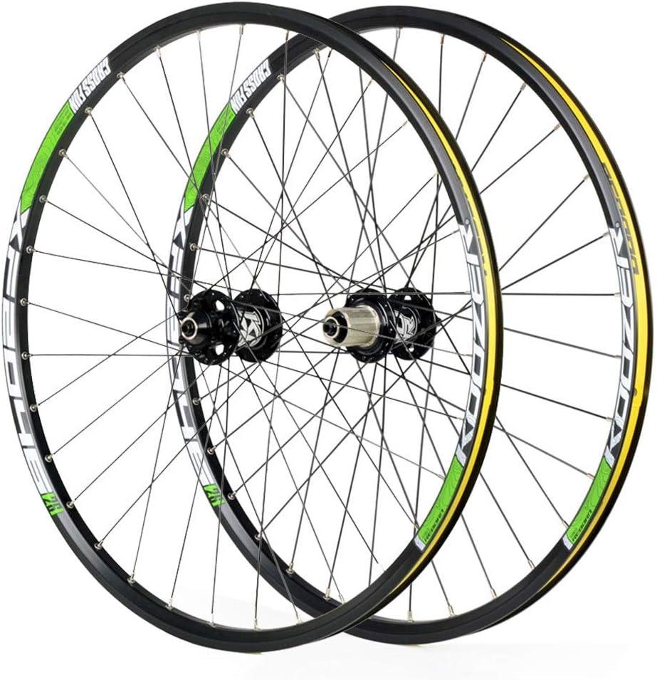 LSRRYD サイクリングホイール 26 27.5 29インチ用 マウンテンバイクホイールセット、 合金二重壁クイックリリース ディスクブレーキ 対応Shimano 8-11スピード (Color : ゴールド, Size : 29inch) ゴールド 29inch