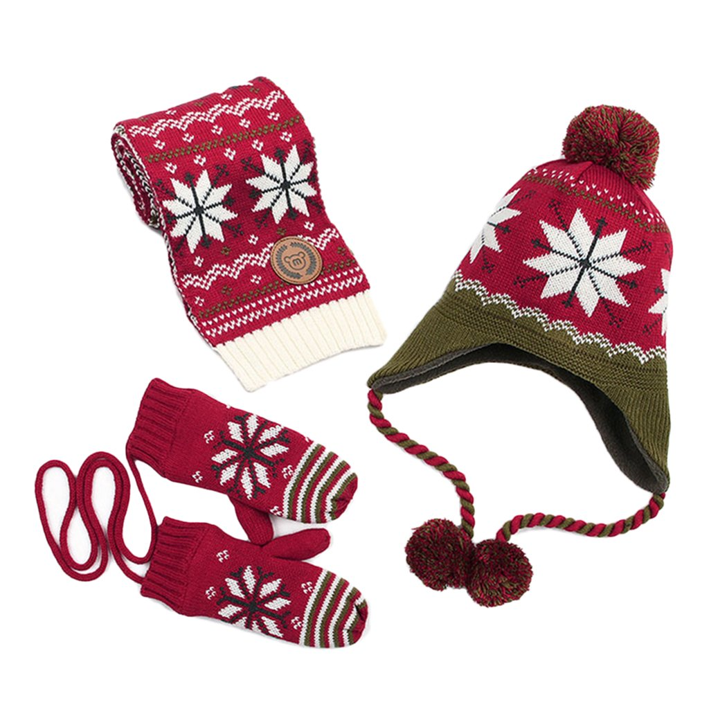 Kisbaby Girl's Fleece-lined Winter Hat Scarf and Gloves Set with Snowflake Pattern (Red, 4-8 Years)