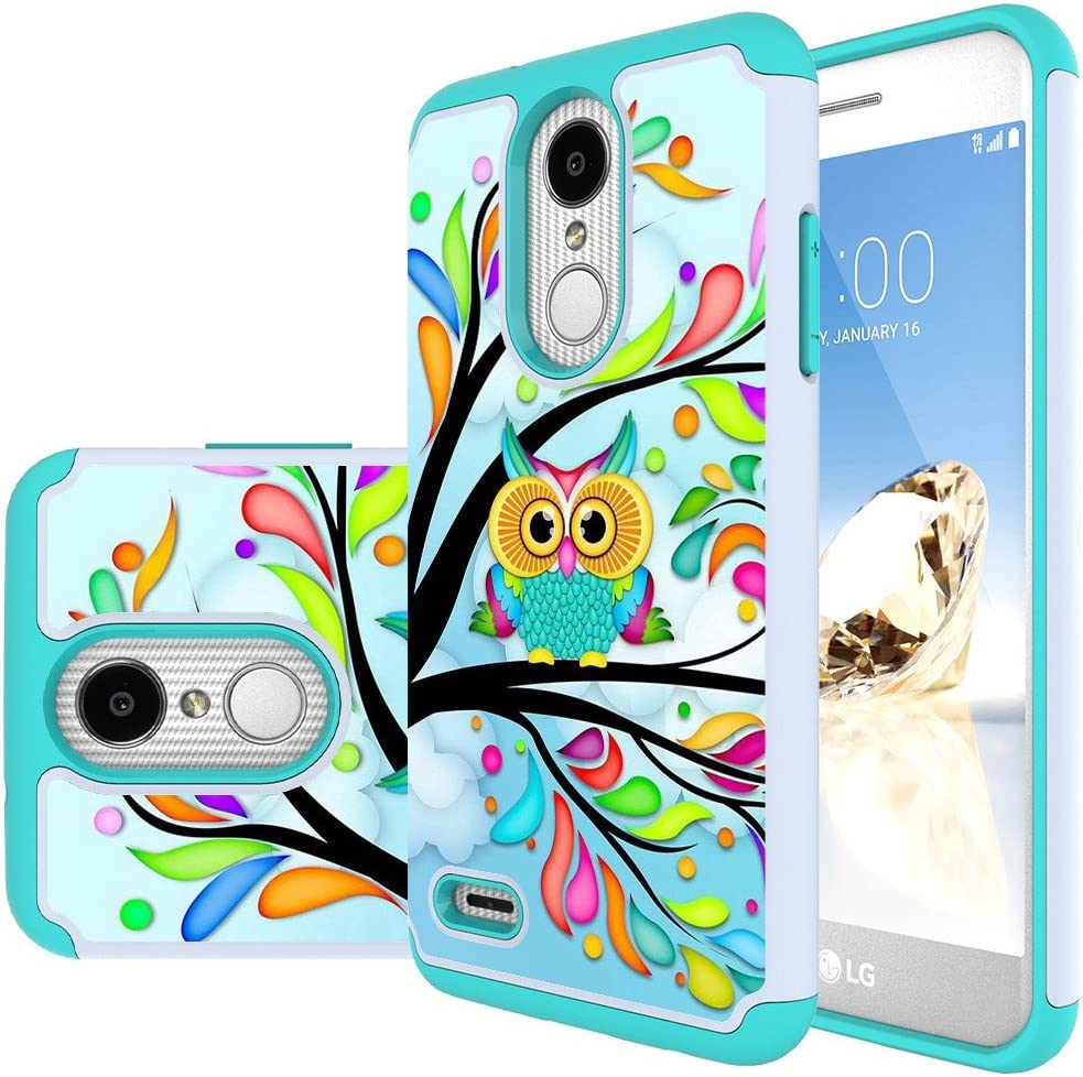 MAIKEZI LG Zone 4 Case,LG Aristo 3/Phoenix 4/Rebel 4/Aristo 2/Aristo 2 Plus/Tribute Dynasty/K8 2018/Fortune 2/Rebel 3/K8 plus/LG Tribute Empire Dual Layer TPU Plastic Phone Case cover(Armor Green Owl)