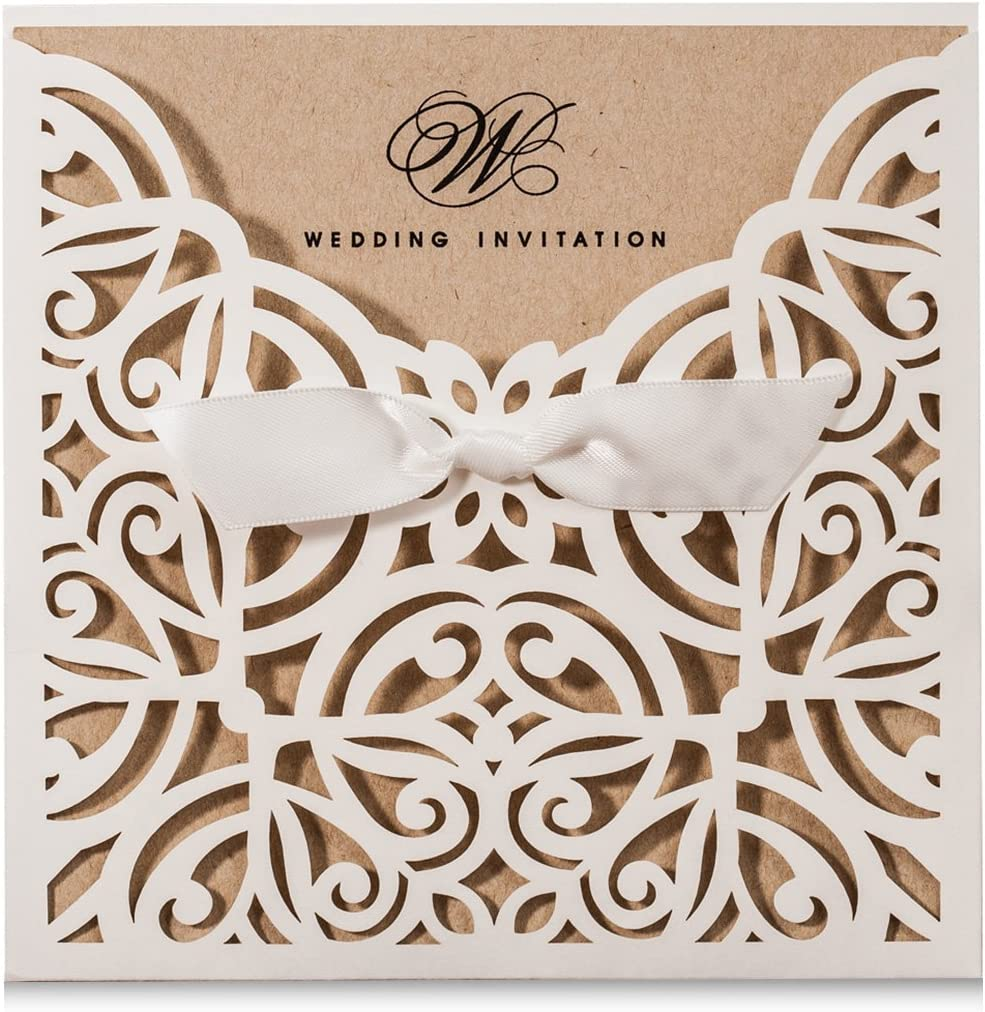 WISHMADE 「Echoes of Love」 White Laser Cut Wedding Invitations 50pieces Floral Design Vertical Invites Printable Holder for Bridal Shower Engagement Paraboda