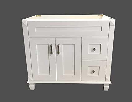 Bathroom Vanity Base Cabinets.White Shaker Solid Wood Single Bathroom Vanity Base Cabinet 36 W X 21 D X 32 H Right Drawers