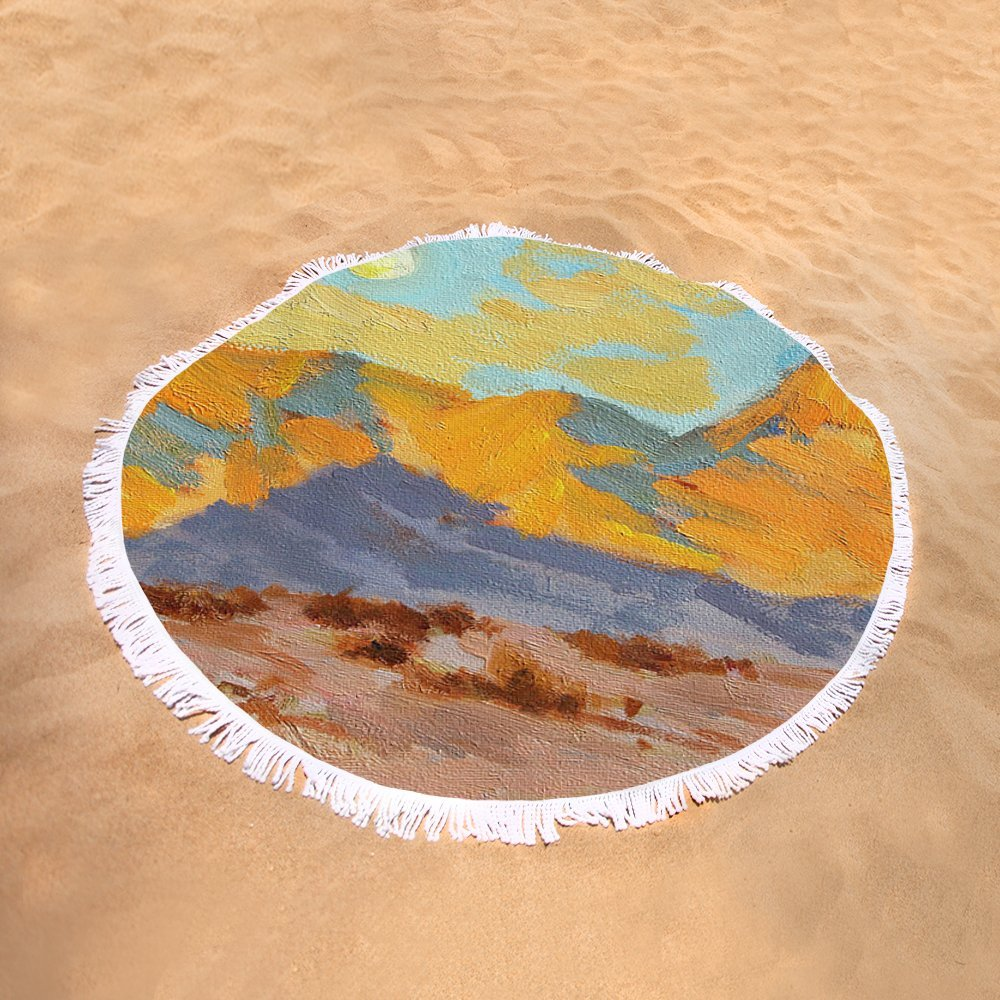 Pixels Round Beach Towel With Tassels featuring ''Desert Morning La Quinta Cove'' by Diane McClary