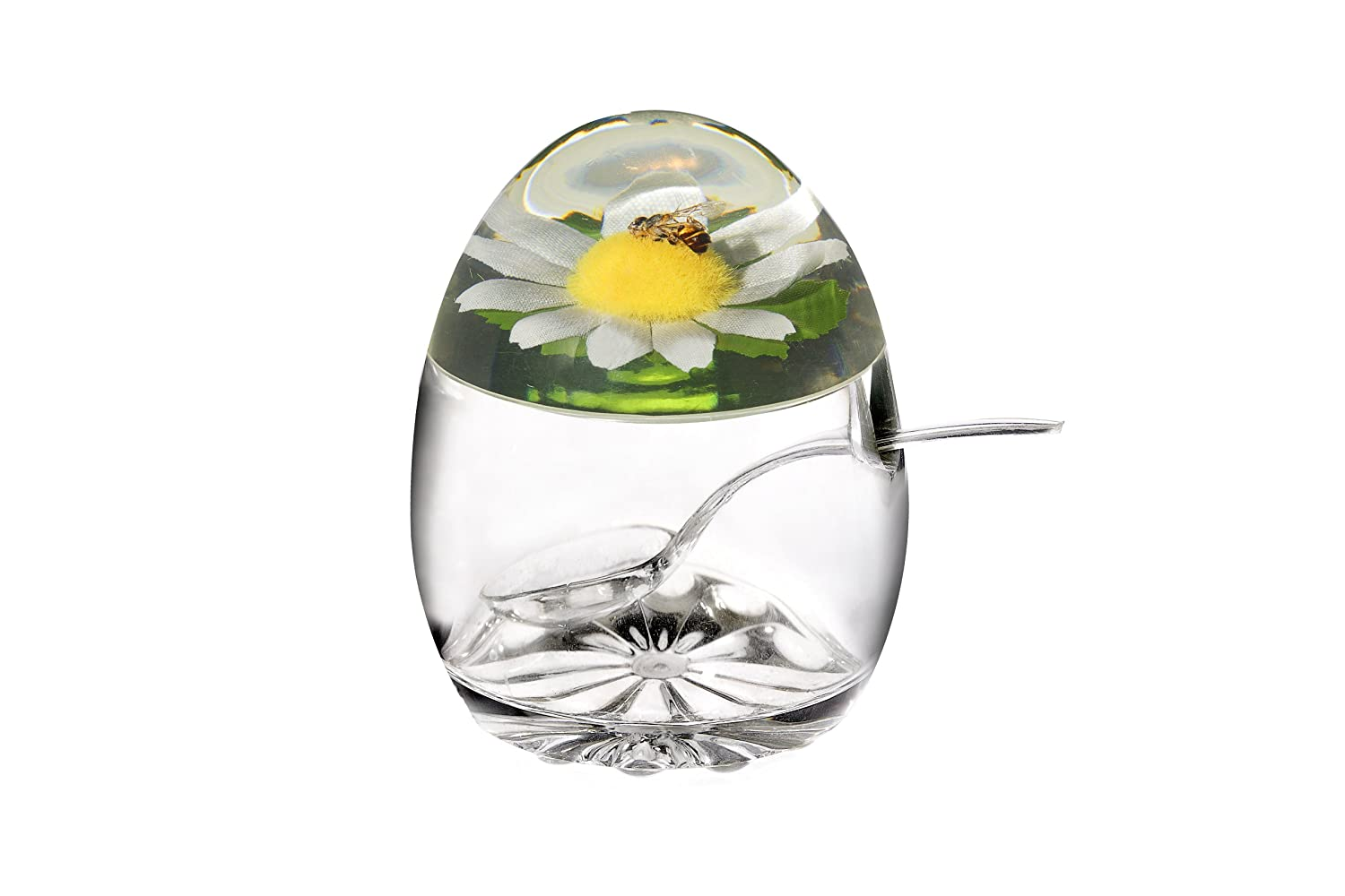 Epicurean Europe 11 x 8.5 cm Acrylic SAN Jampot and Spoon with Daisy and Honey Bee Design in Lid, Clear Epicurean Europe Limited 39BO9188E