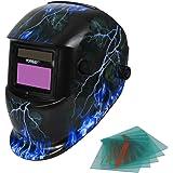 Yorbay Solare autoscurante Casco da saldatura Maschera regolabile a scelta + 5 lenti (Fulmine)