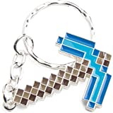 Minecraft Metal Pickaxe Blue Keychain Keyring