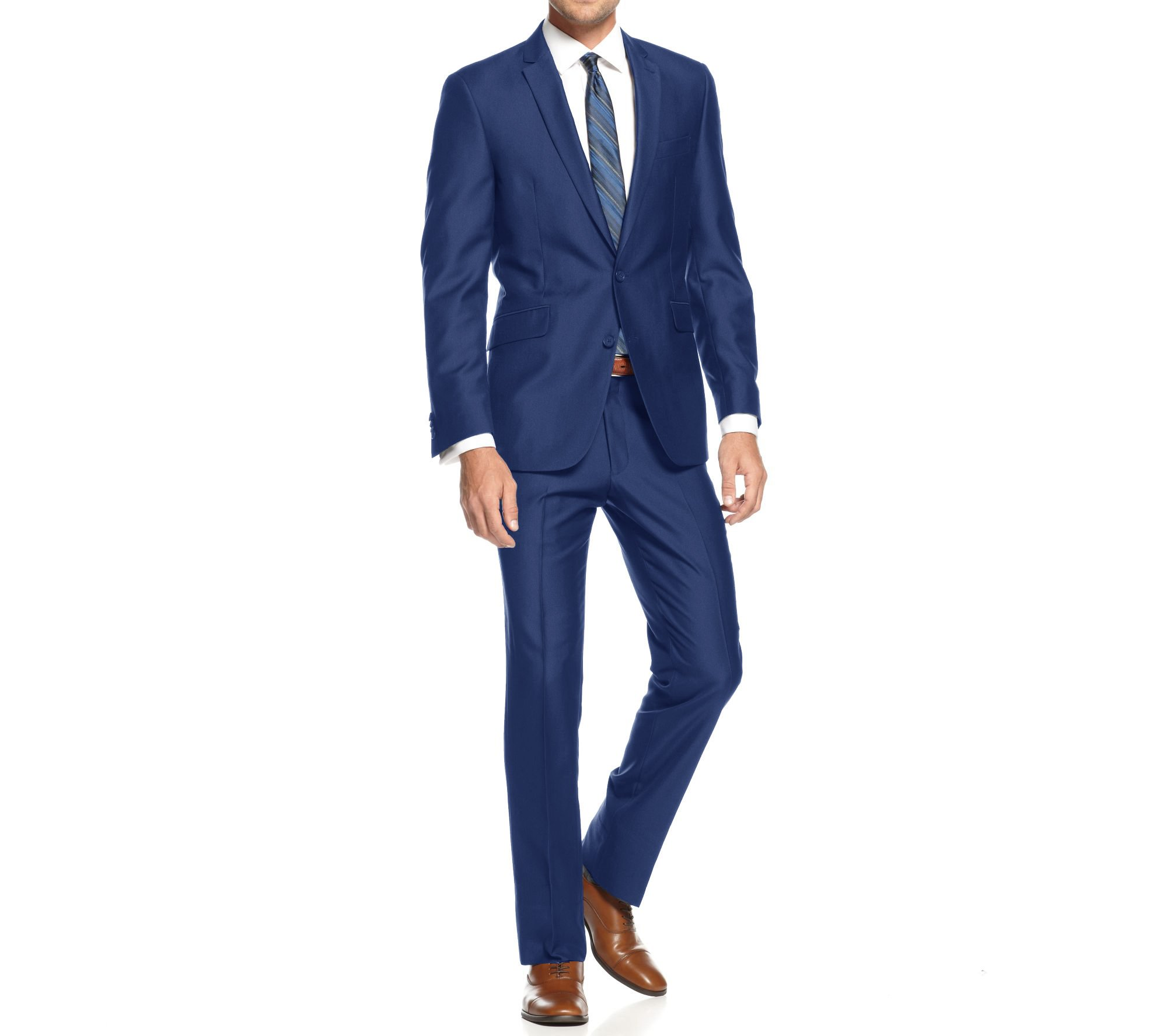 Braveman Mens Slim Fit Single Breasted 2 Piece Suit, Indigo, Size 40S/34W