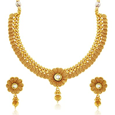 Buy Sukkhi Collection Jewellery Sets for Women (Golden) (2550NGLDPP1800)  Online at Low Prices in India  b296dfbec0