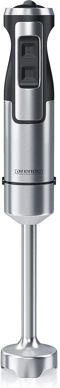 arendo - Batidora de Mano de 1000 vatios de Acero Inoxidable - Cuchillo de Cuatro Hojas - Batidora de Mano - Licuadora - minipimer - Control de Velocidad Continuo - Botón Turbo - pie extraíble