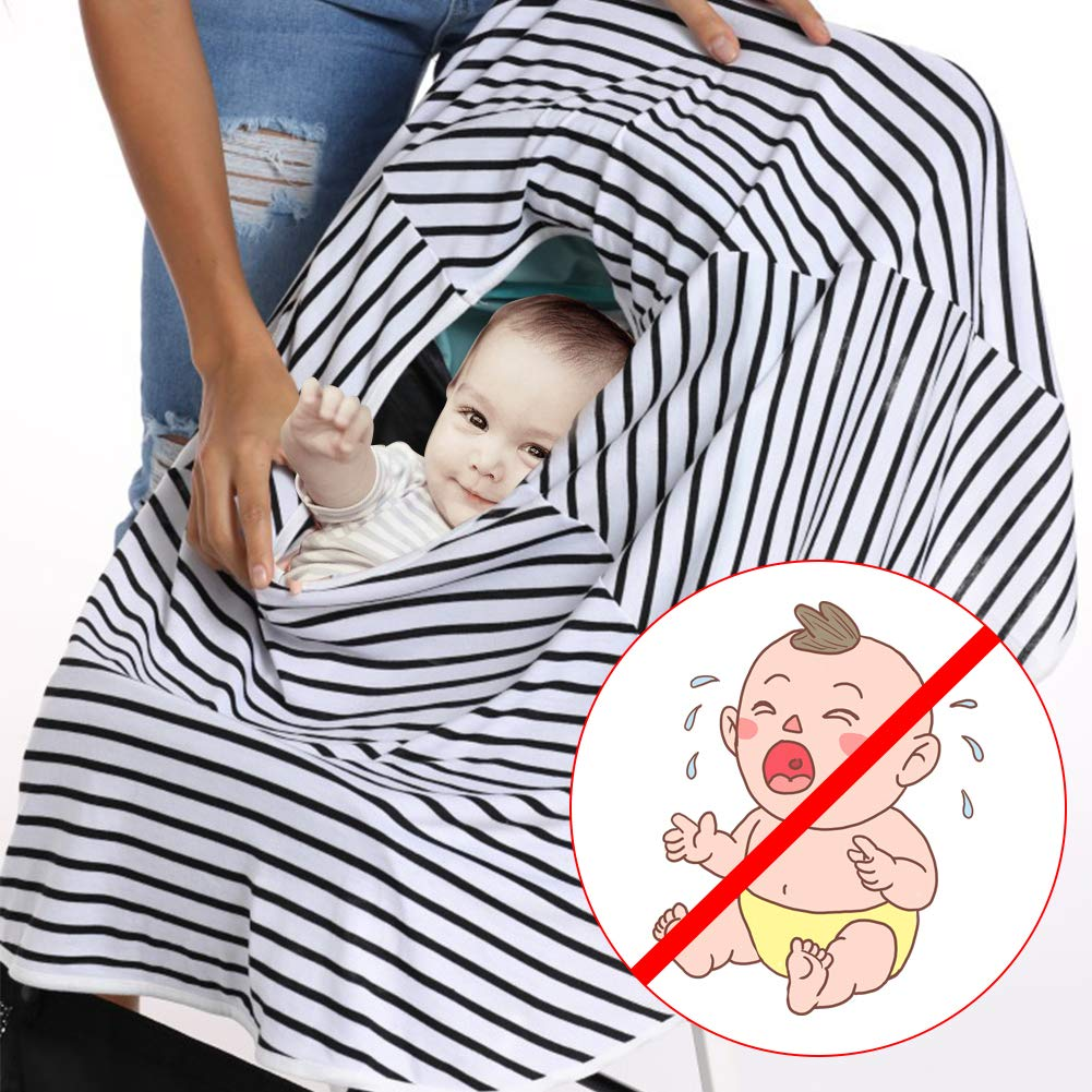 Qivange Nursing Cover Privacy Carseat Canopy Cotton Large Full Coverage Infinity Nursing Scarf Gray Infant Stroller Baby Car Seat Covers for Girl Boy