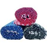 Fancyadda Khadi Cotton Bath Towels (Large, Multicolour) - Pack of 3