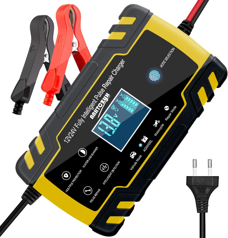 ANHTCZYX Cargador de batería de edición Mejorada, 12V 8A / 24V 4A, Automotive Smart Battery Maintainer para automóvil, Adecuado para carros de Golf, Motocicletas, cortadoras de césped para Yates