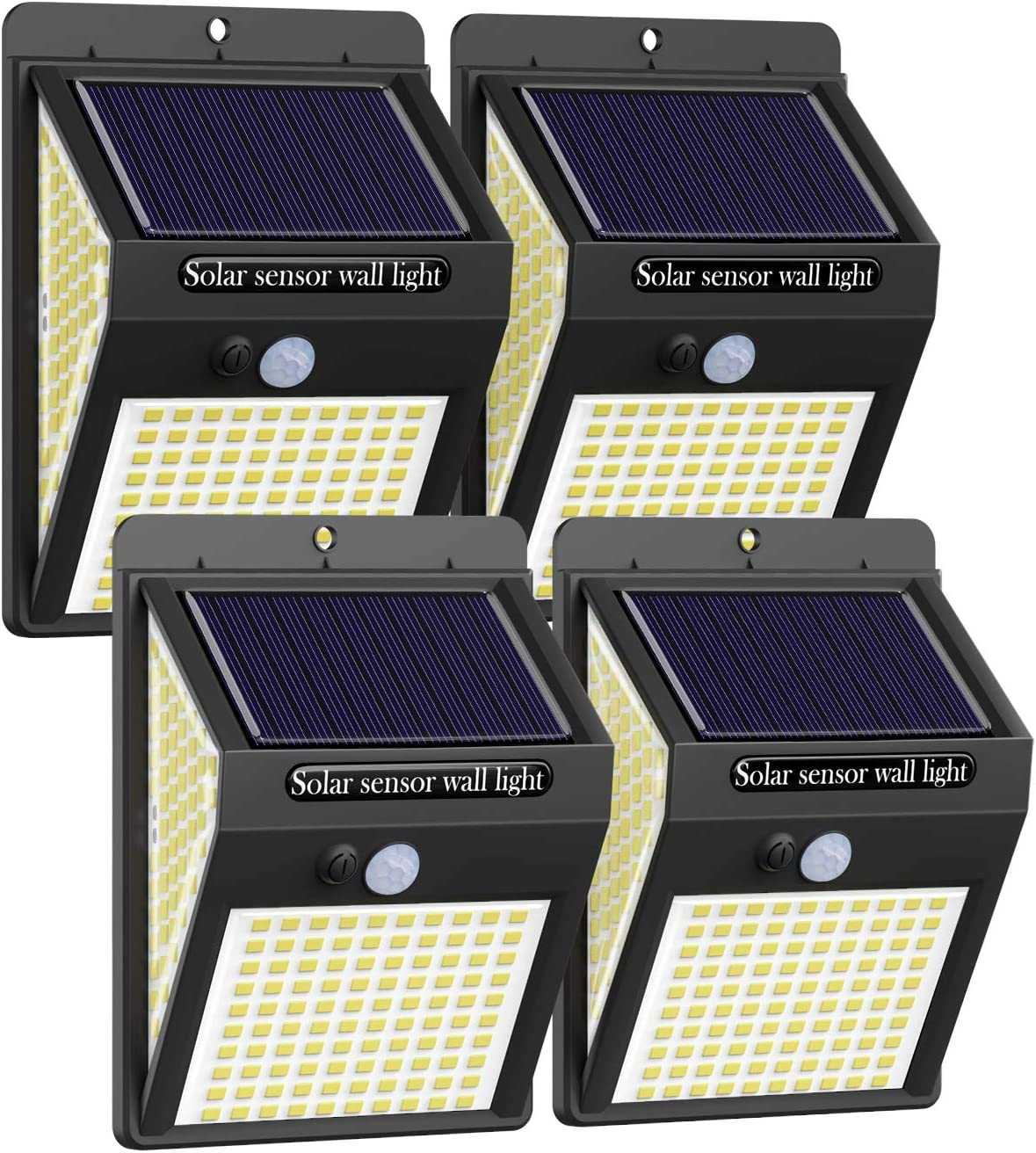 [4Packs 220LED ]Solar Motion Sensor Light Outdoor,Litogo Solar Lights Outdoor IP65 Waterproof 3 Modes Solar Fence Lights Solar Security Lights Flood Light for Garden Patio Yard Deck Garage Fence Pool