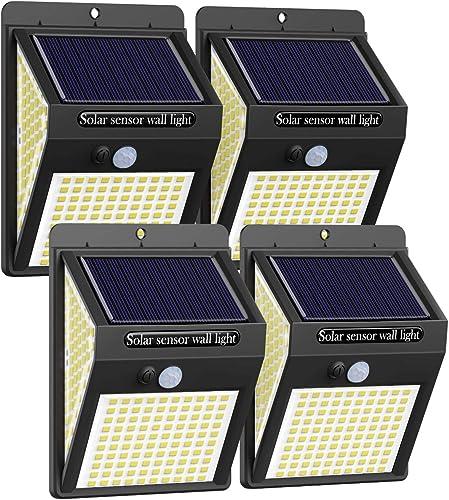 4Packs 220LED Solar Lights Outdoor,Litogo Solar Motion Sensor Light Outdoor IP65 Waterproof 3 Modes Solar Fence Lights Solar Security Lights Flood Light for Garden Patio Yard Deck Garage Fence Pool