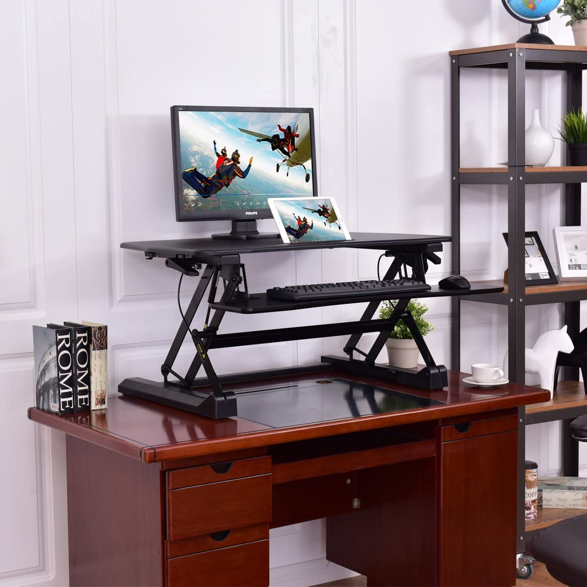 Tangkula Standing Desk, 50lbs Computer Workstations, Height Adjustable Sit-Stand Desk with Keyboard Tray Elevating Desktop Workstation for Dual Monitor, Black