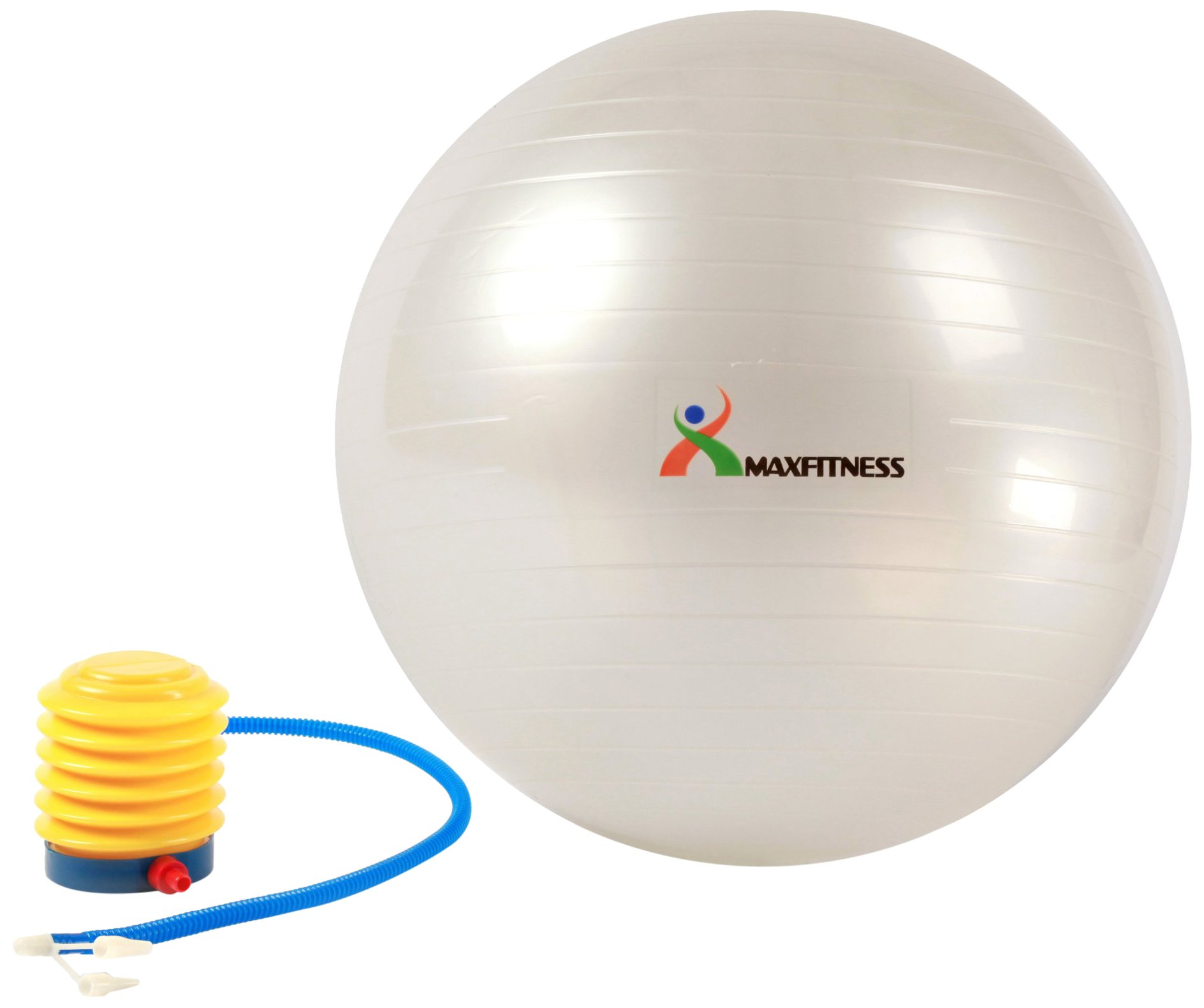 Max Fitness 65cm Exercise Ball with Foot Pump (Pearl White)