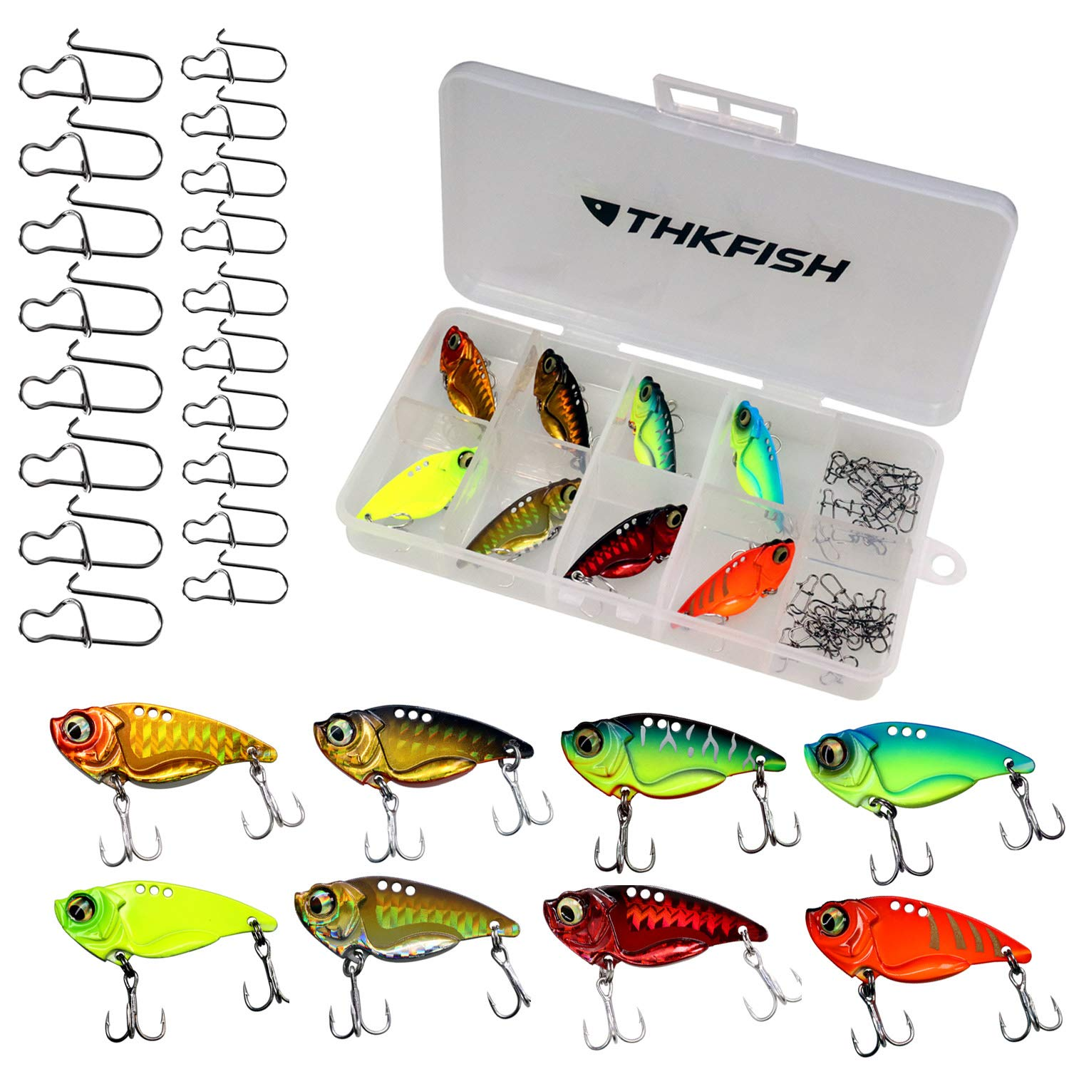 thkfish Metal VIB Hard Fishing Lure Saltwater Freshwater Crankbait Wobble Fishing Spinner Spoons Lure Blade Bait for Bass Trout Crappie Fishing