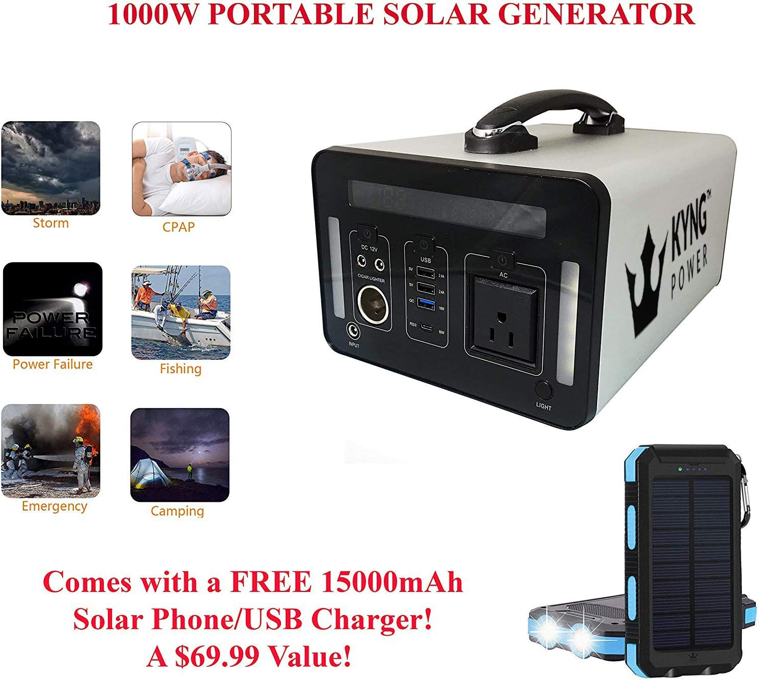 Kyng Power Solar Generator Portable Power Station 1000Wh 1500w Peak Emergency Generator Lithium Rechargeable Battery Inverter Back Up Power Supply, CPAP, Outdoors, Camping, Emergency 3 USB, 2 DC, AC