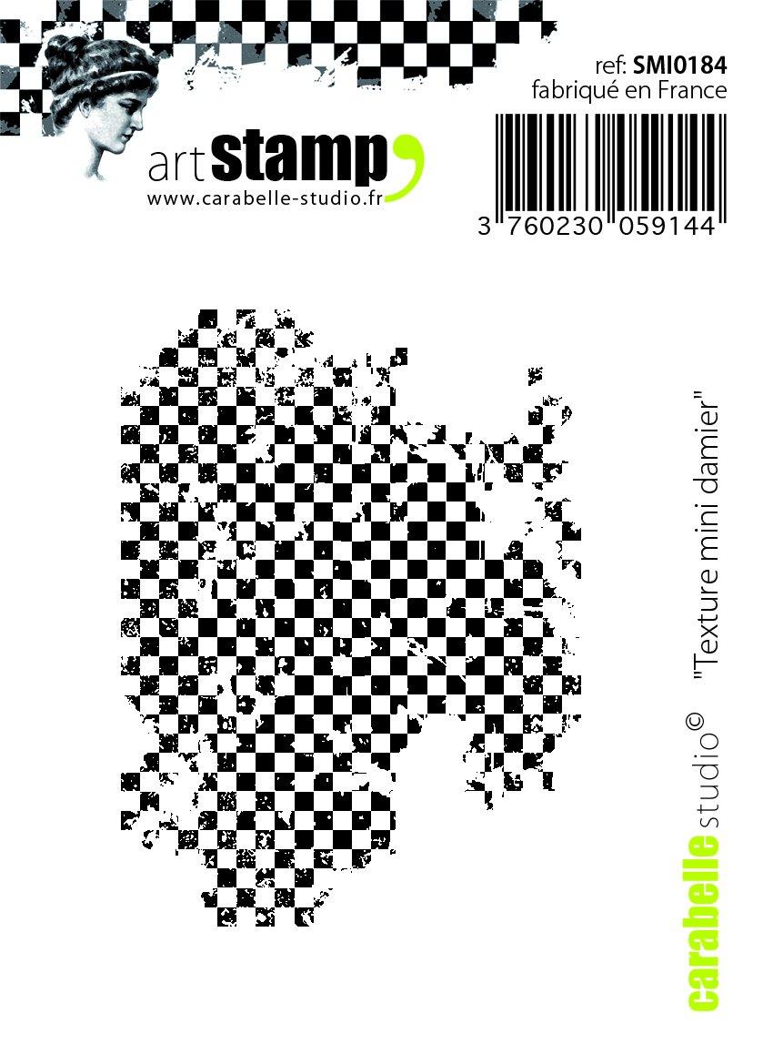 Caoutchouc Blanc//Transparent Carabelle Studio SMI0184 Tampon Texture Mini Checkered 5 x 6 x 0,5 cm
