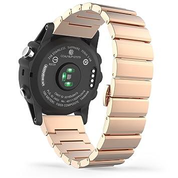 MoKo Garmin Fenix 3 / Fenix 3 HR Correa de Reloj, Pulsera del Metal del Acero Inoxidable Reemplazo del con el Doble Botones Plegable - Rosa Doroda