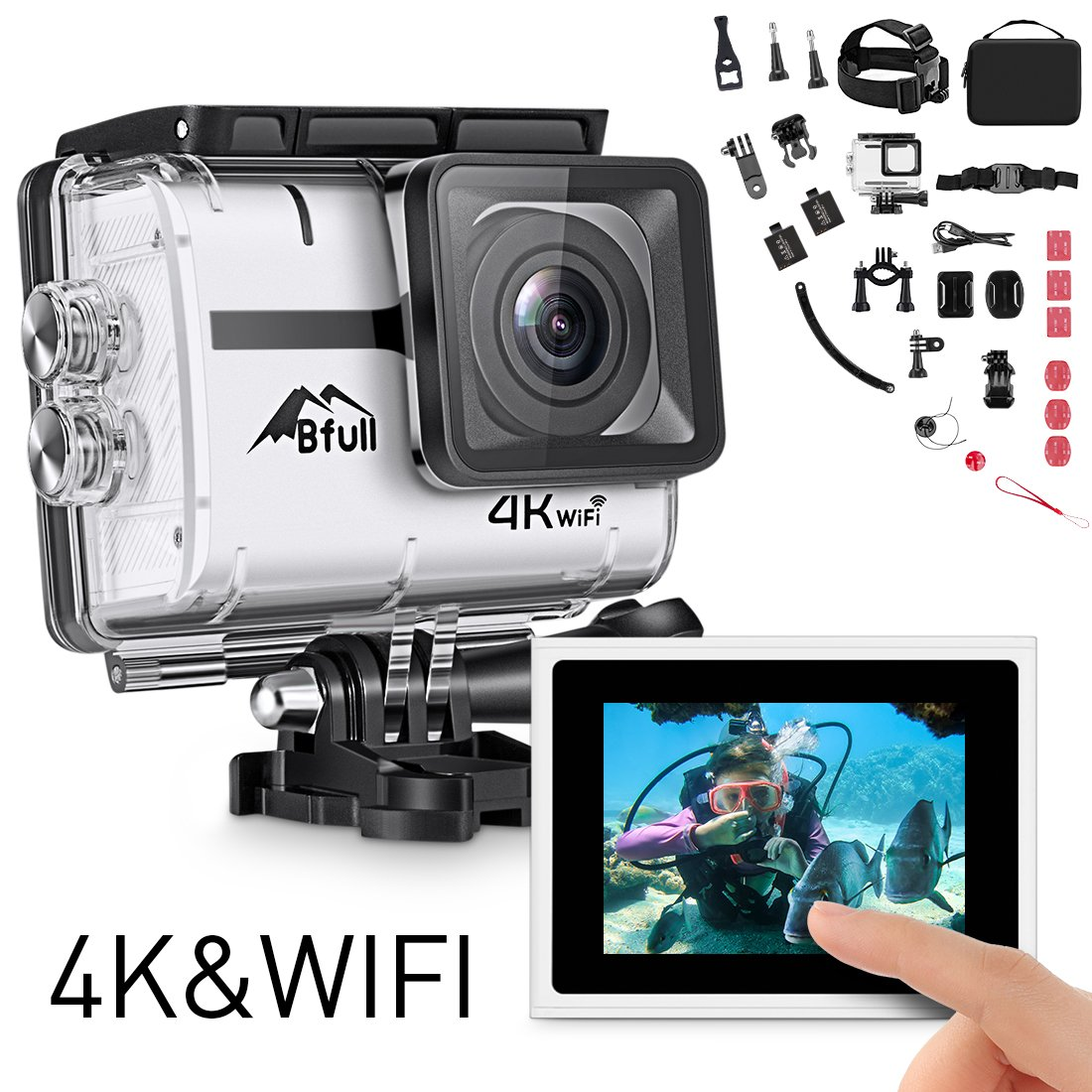 Bfull Action Camera, 4K 16MP Touchscreen Soprts Camera WIFI 170°Wide Angle Len with SONY Sensor Full HD Waterproof 30m Underwater DV Camcorder with 2 Rechargeable Batteries and Mounting Accessory Kits