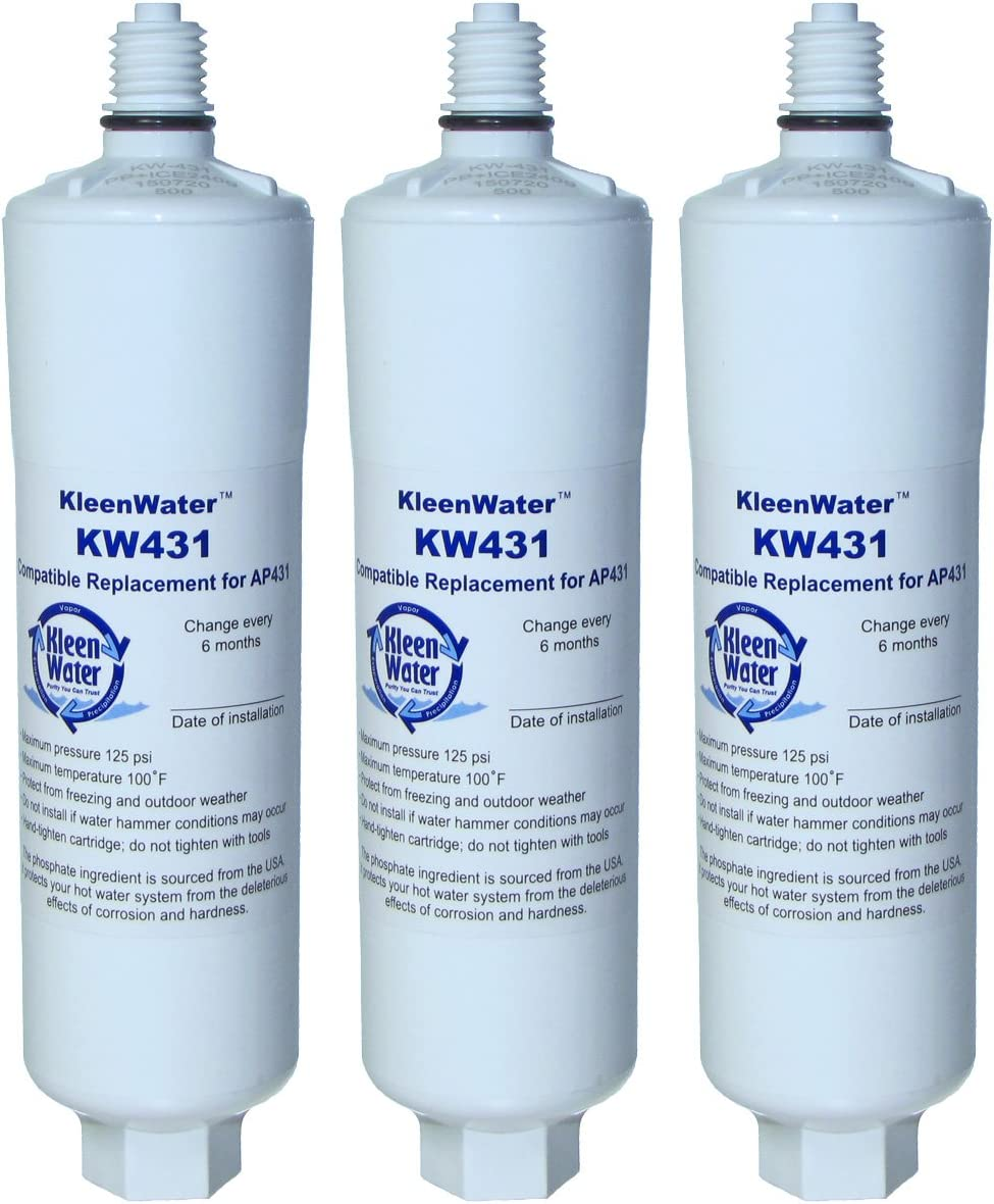 KleenWater AP431 Aqua-Pure Compatible Filter, KW431 Hot Water System Protector Replacement Cartridge for The AP430SS, 3 Pack
