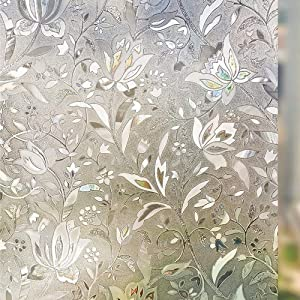Arthome 3D Window Film, 35.4x100 inch Flower Decoration Tulip Patterns Film No Glue Static Cling Anti UV for Kitchen Home Office