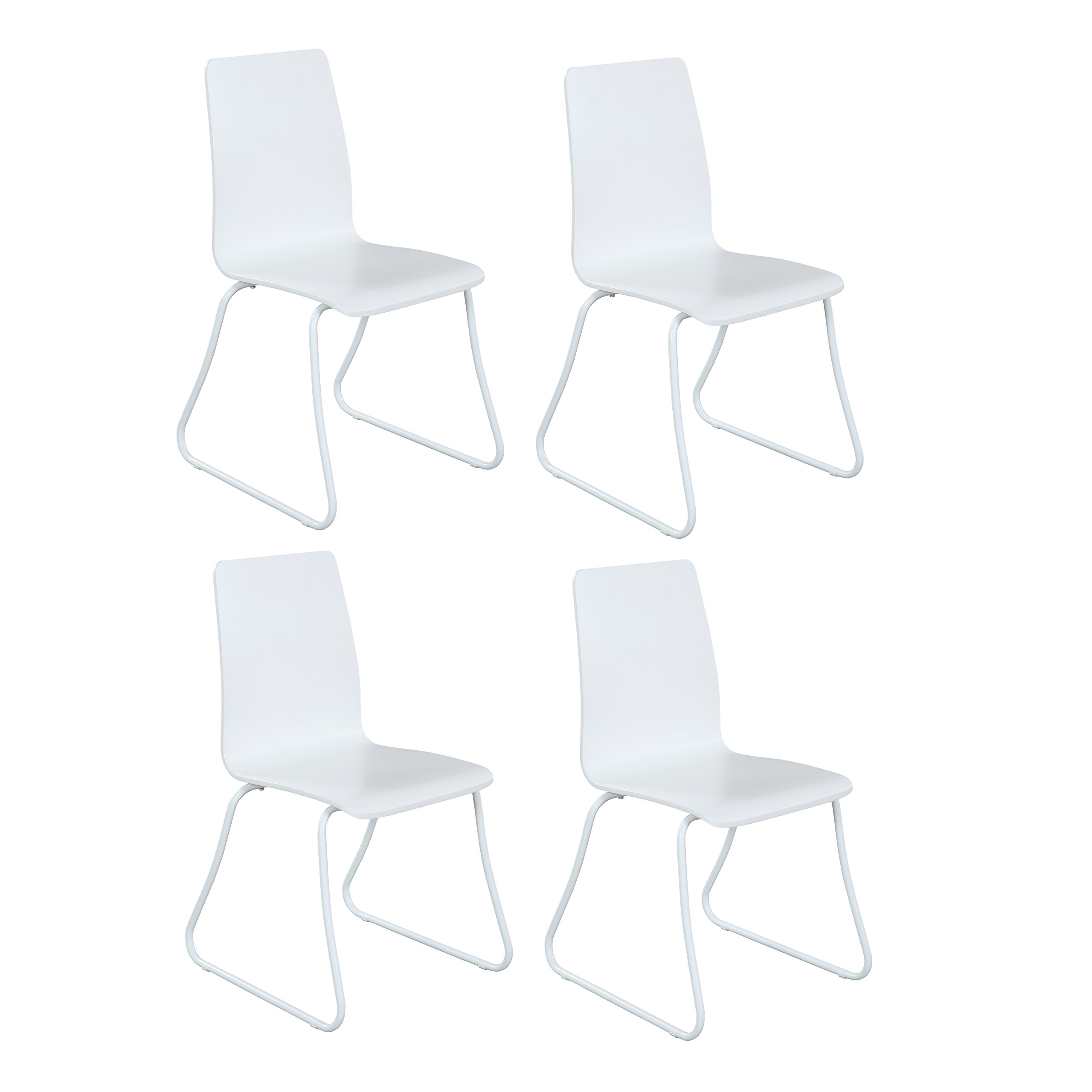 Design Furniture Collection DFC White Dining Side Chair Set of 4 - Modern Style Armless Kitchen Dining Room Chair Plastic with Metal Legs