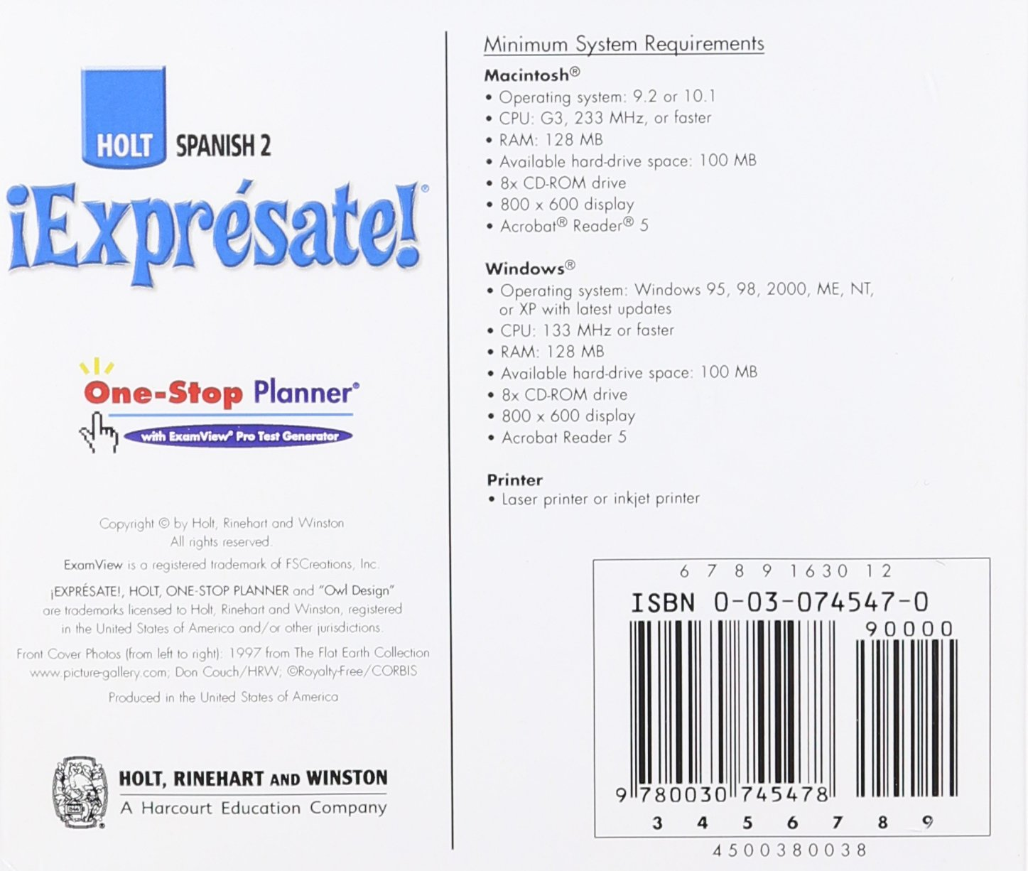 Expr?sate!: One-Stop Planner Level 2: Amazon ca: Holt Rinehart
