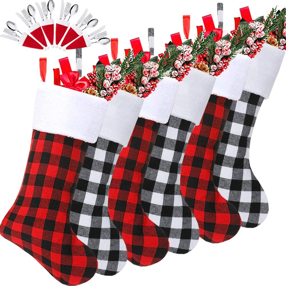 Christmas Stockings, 6 Pack 18 Inch Black White Buffalo Plaid Christmas Stockings Fireplace Hanging Stockings for Family Holiday Xmas Party