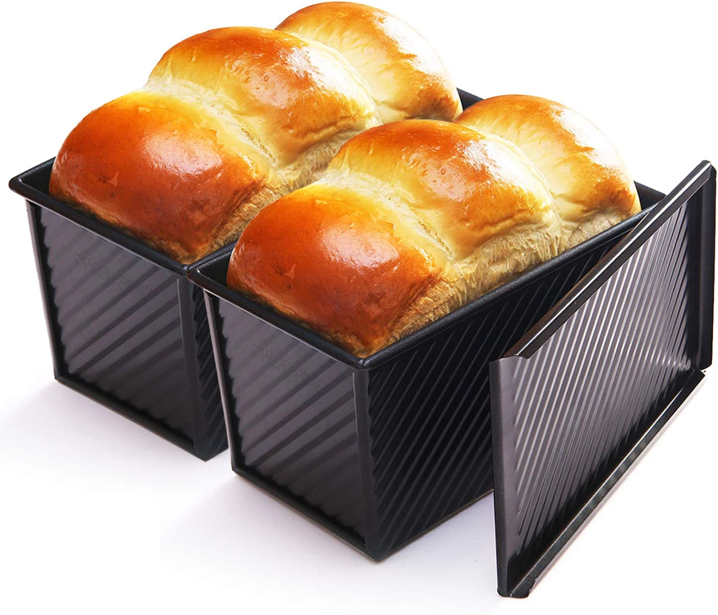CHEFMADE Loaf Pan 2 Pcs, Non-Stick Bread Pan Carbon Steel Toast Pan with Cover for Baking Bread FDA Approved - Black