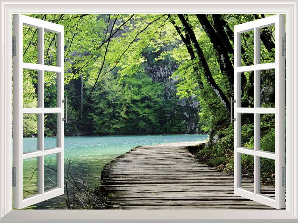 wall26 Peel and Stick Wallpapaer -Collage - | Removable Large Wall Mural Creative Wall Decal (36''x48'', Bridge by a Lake)
